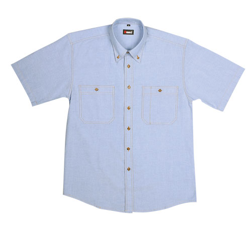 8.5 OZ 100% combed cotton with fine chambrary weave Classic-style button down shirt Short Sleeve
