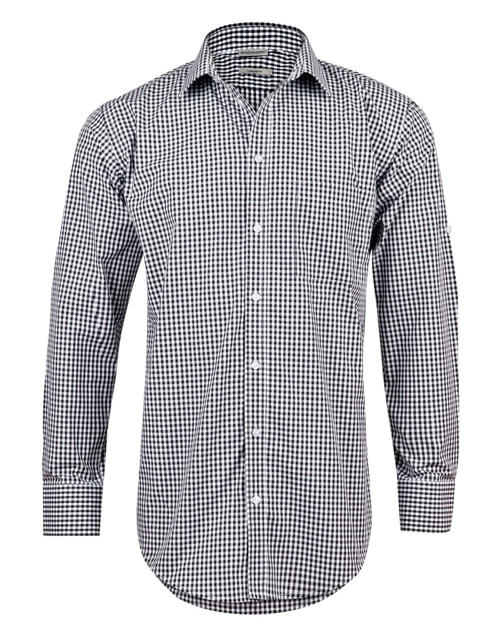 Men's Gingham Check L/S Shirt with Roll-up Tab Sleeve