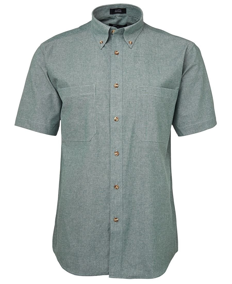 S/S Cotton Chambray Shirt Green Stitch