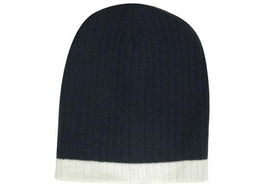 Two Tone Cable Knit Beanie - Toque
